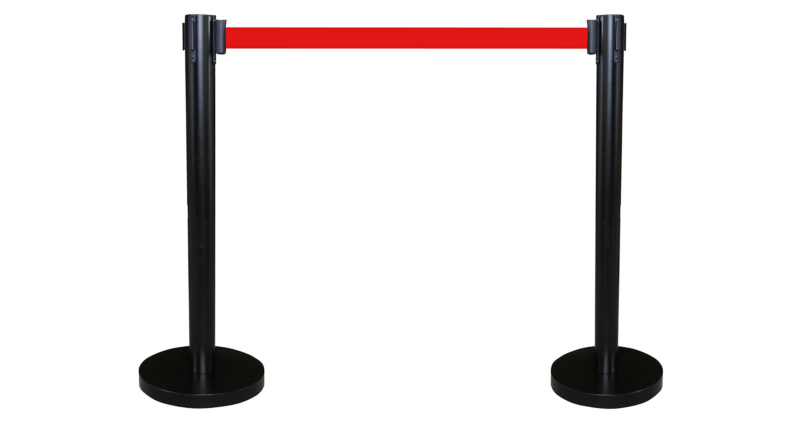 FixtureDisplays Black Crowd Control Stanchion Queue Barrier Post RED Strap 78'' Retractable 12004-10-2PK by FixtureDisplays