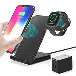 Wireless Charger,2 in 1 Wireless Charging Dock with iWatch Stand for iWatch 6/SE/ 5/4/3/2, 7.5w Qi Fast Charger for iPhone 12/11/11 Pro Max/XR/XS Max/XS/X/8/8P/Galaxy Note 10 (AC Adapter) (Black)