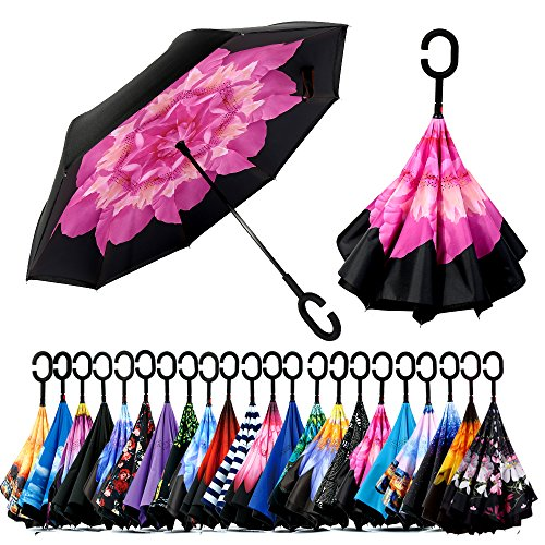 Spar. Saa Double Layer Inverted Umbrella with C-Shaped Handle, Anti-UV Waterproof Windproof Straight Umbrella for Car Rain Outdoor Use (Pink Lotus)