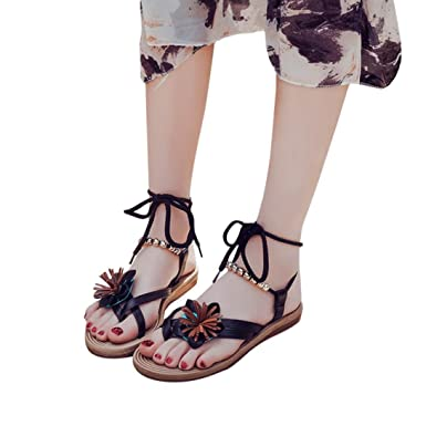 d6ee6d969 Baigoods Women Clip Toe Herringbone Sandals Beach Flat Shoes Ladies Summer  Flower Bandage Sandals (Black