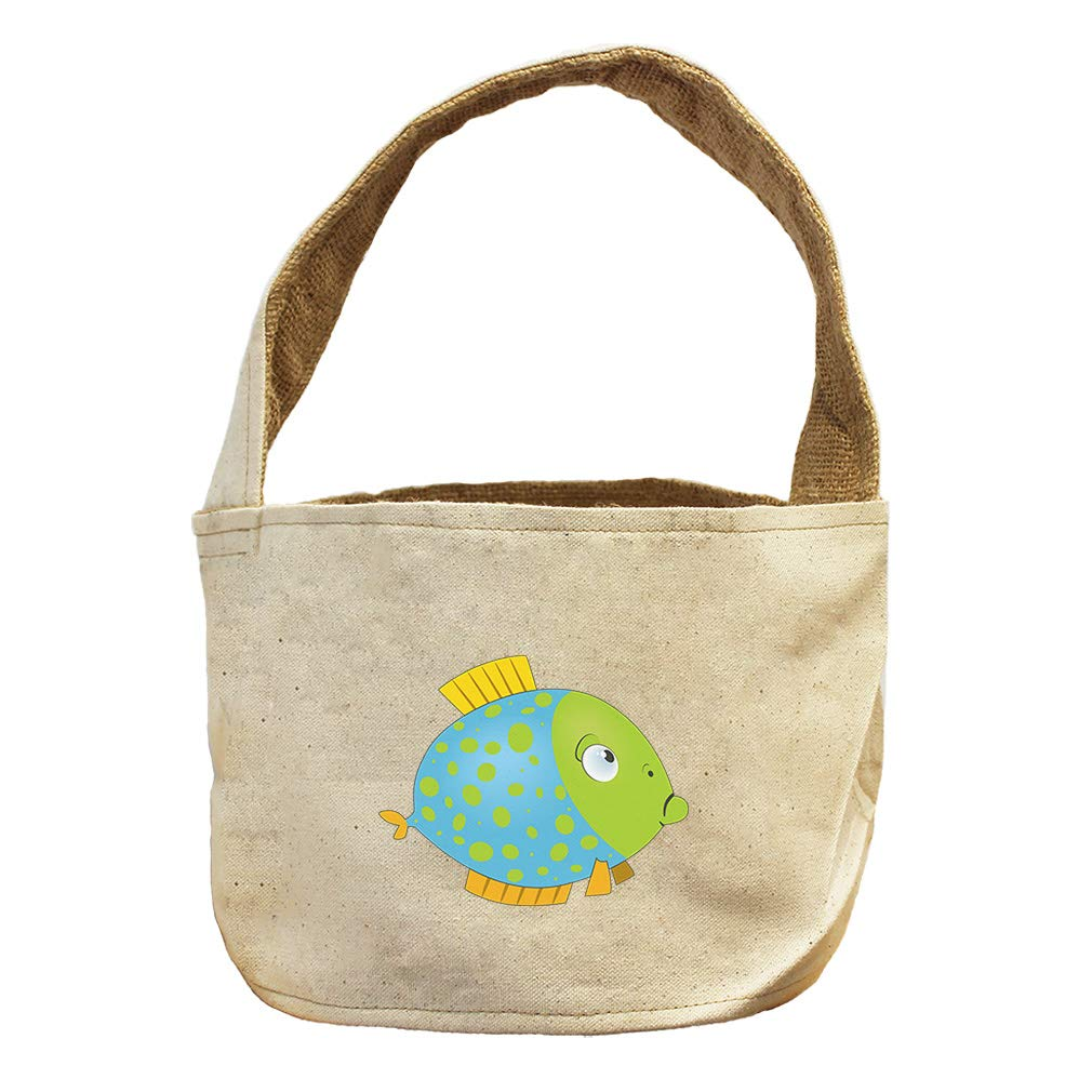 Style in Print Round Fish Blue Green Animals Canvas and Burlap Storage Basket
