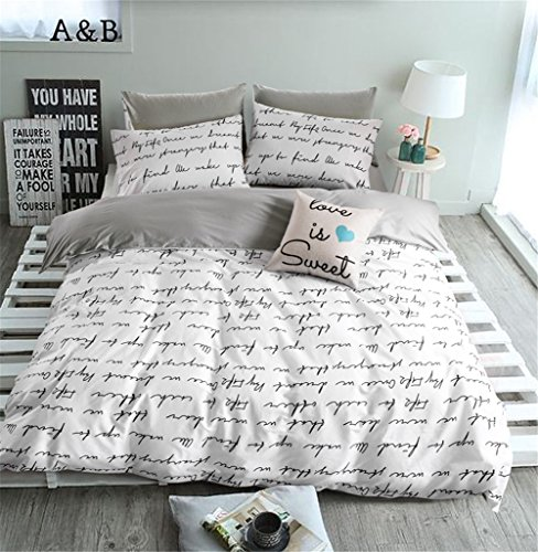 VClife Duvet Cover Queen Full Bedding Duvet Cover Sets-1 Duvet Cover 2 Pillowcases-Reversible Love Letter White Grey Pattern, Lightweight Comfortable Durable for Bedroom Guest Room, Chic Bedding (Comfortable Letters)
