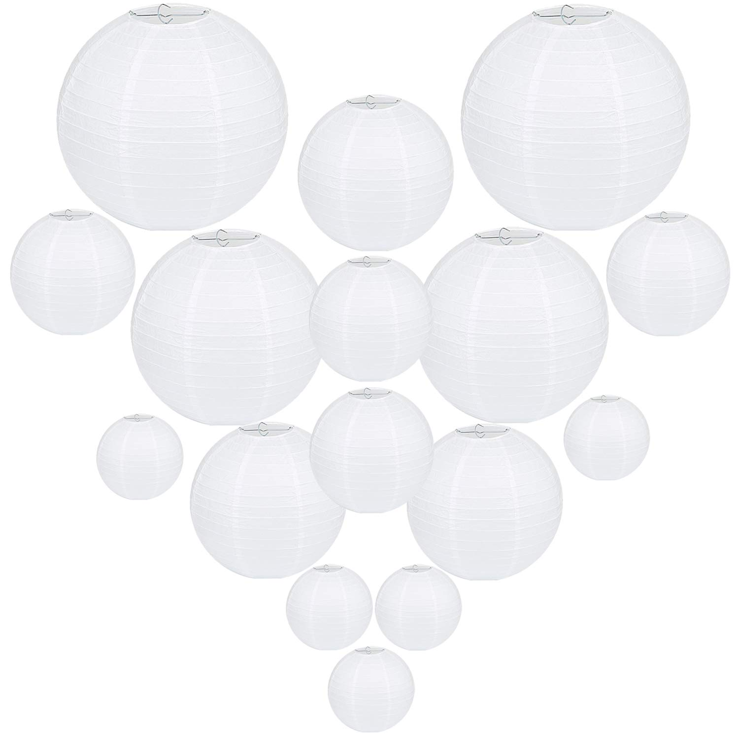 26 Packs Paper Lanterns,Assorted Sizes, White Paper Lantern Decorative,Chinese Paper Hanging Decorations Ball Lanterns Lamps for Weddings