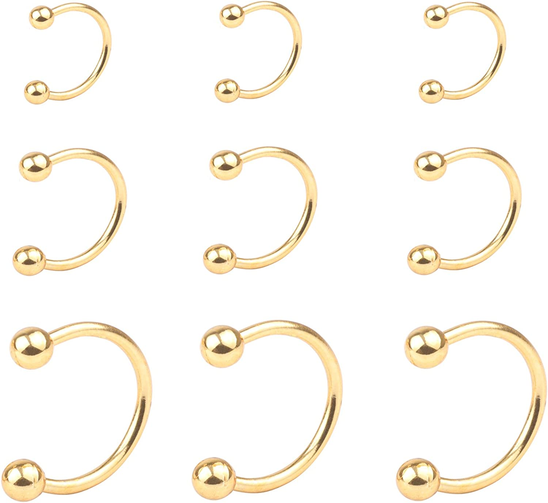 16G Nose Septum Horseshoe Hoop Earring Eyebrow Tragus Lip Piercing Ring 3mm Ball\Spike 10mm Surgical Steel