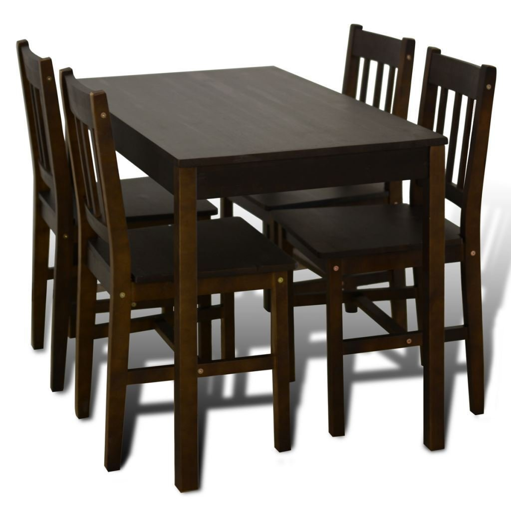 K Top Deal 5 Piece Kitchen Dining Set Pine Wood, Furniture Lacquered Table and 4 Chairs, Brown
