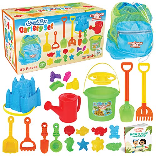 The STORYBOOK KIDS Explorers Club Beach Toys - 23-Piece Sandbox Toys Set for Toddlers - Sandcastle Building Kit of Shovels, Molds, Bucket & Pail in Strong Carry Bag - Sand Playset for Kids 3-10