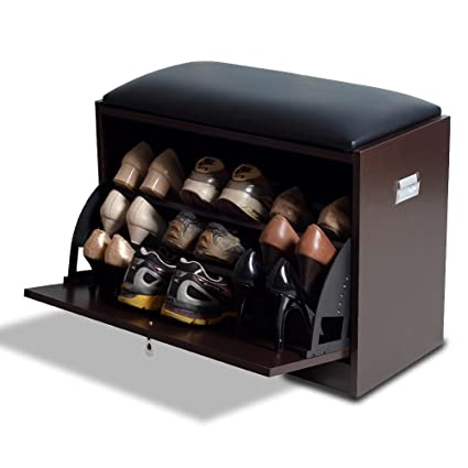 Exceptionnel GLS Brown Modern Shoe Bench Storage Ottoman With Pu Leather Seat For  Entryway Living Room Furniture