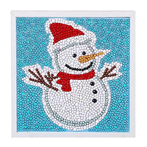 クリスマスステッカー DIYダイヤモンド絵画番号キット アートクラフトキット DIY教育玩具 15x15cm. ブラック 1