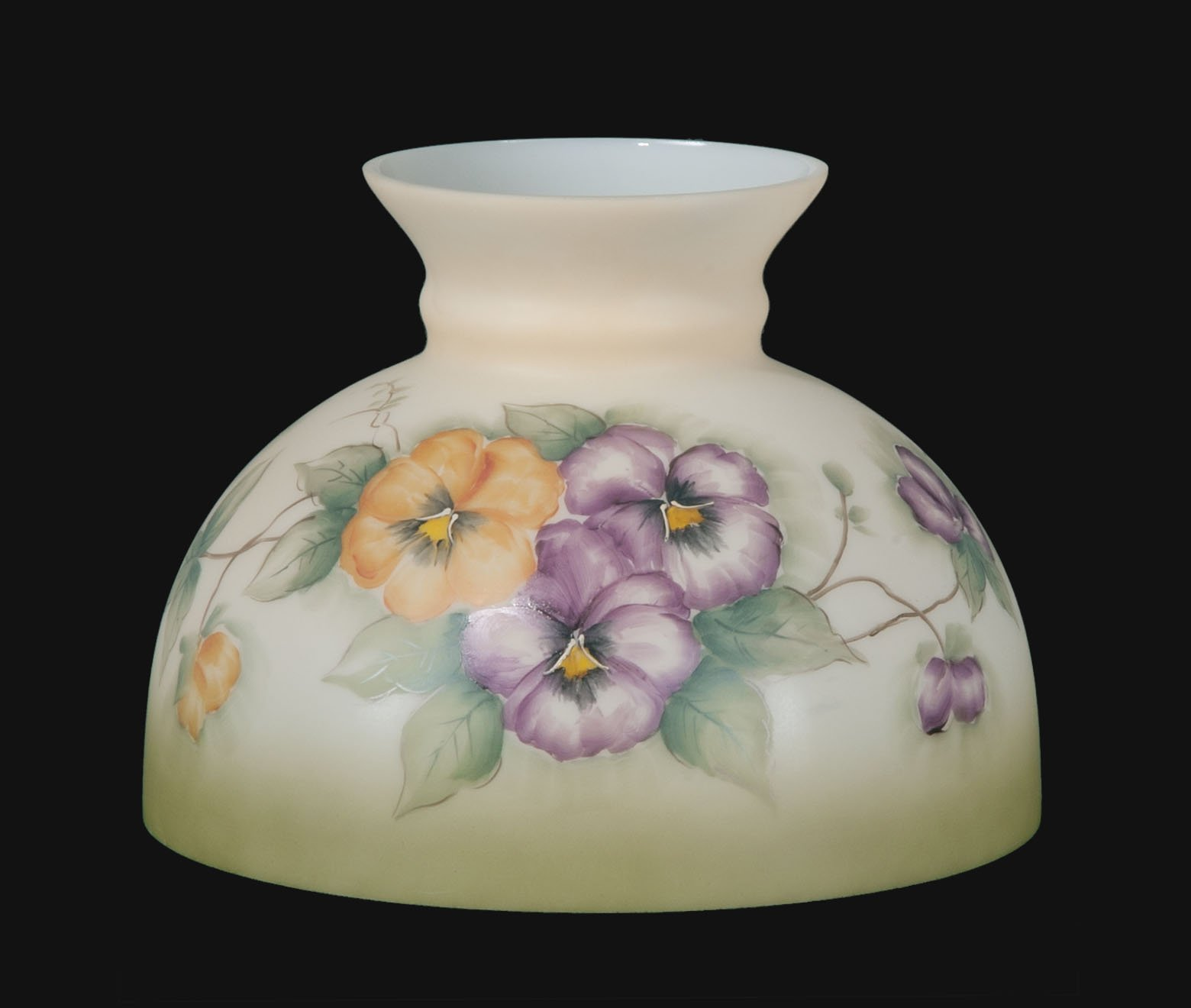 B&P Lamp Opal Glass Student Shade, Pansy Scene