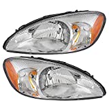 Pair Set Headlights Headlamps with Chrome Bezel Replacement for Ford Taurus 1F1Z13008AB 1F1Z13008AA
