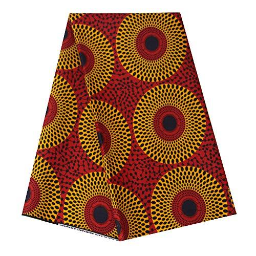 pqdaysun African Super Wax Print Fabric Ankara Fabric Wax Material 6 Yards for Sewing Dress Clothing wax002-wine (Wine) -