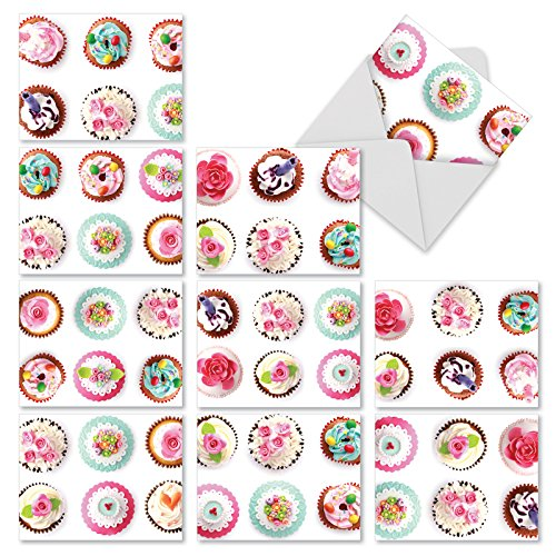 Cupcake Note Cards for All Occasions (Box of 10), 'Frosted Fun' Blank Greeting Cards with Envelopes, Assorted Stationery for Weddings, Baby Showers, Birthdays - NobleWorks M3050
