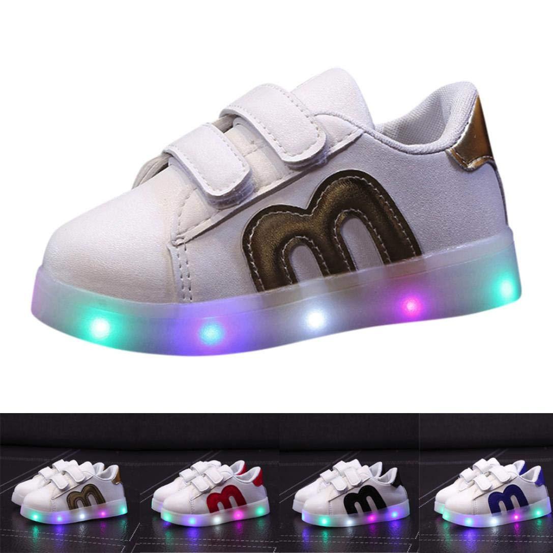 ELECTRI Bébé Chaussures d'éclairage Sneakers des Gamins LED Lumineux Baskets, Enfants Confortable Chaussures de Sport
