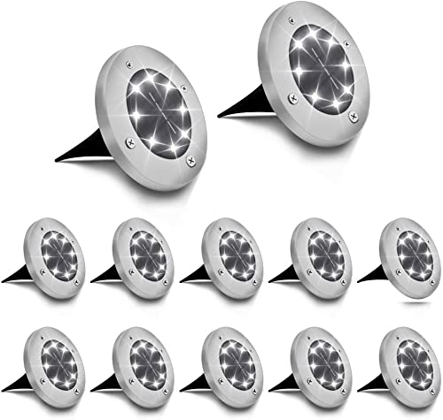 Solar Ground Lights 12 Pack 8 LED Solar Disk Lights Solar Garden Lights Waterproof Outdoor Landscape Lighting for Patio Yard Pathway Walkway-White Lights