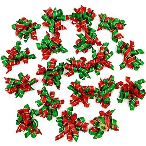Hixixi 20pcs/Pack Pet Dog Cat Xmas Hair Bows Puppy Grooming Bows Christmas Hair Accessories with Rubber Bands -