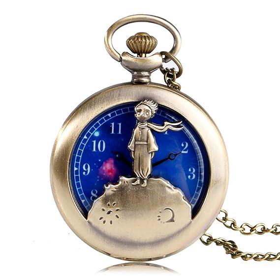 Reloj de Bolsillo con diseño de pequeño príncipe, Reloj de Bolsillo de Cuarzo para Hombre, Esfera de Planeta Azul, Collar de Bolsillo: Amazon.es: Relojes