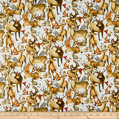 (Henry Glass Sheltering Snowman Packed Forest Animals Fabric, Multicolor, Fabric By The Yard)