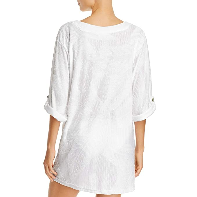 1590aa863d J. Valdi Womens Textured Rolled Tab Sleeve Swim Top Cover-Up White L at  Amazon Women's Clothing store: