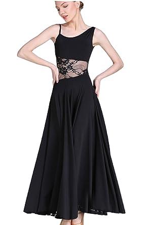 b94433ee6 CHAGME Modern Skirts National Standard Dance Ballroom Dancing Social Dance  Waltz Dress Black M