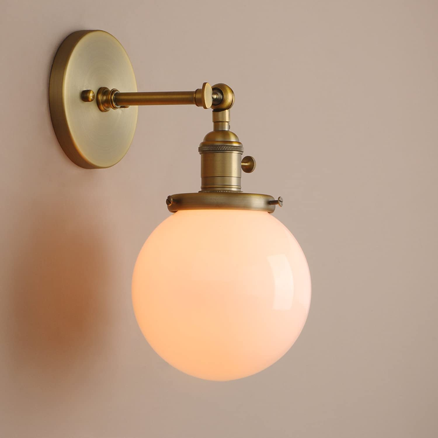 Pathson Industrial Wall Sconce with White Globe, Brass Bathroom Vanity Light with On Off Switch, Vintage Wall Light Fixtures for Living Room Loft Hallway