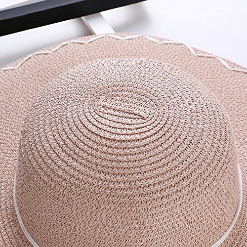 AOBRITON Sun Hat Women Wide Brim Straw Bow Beach Hat Travel Seaside Vacation Suncreen Cap by AOBRITON (Image #4)