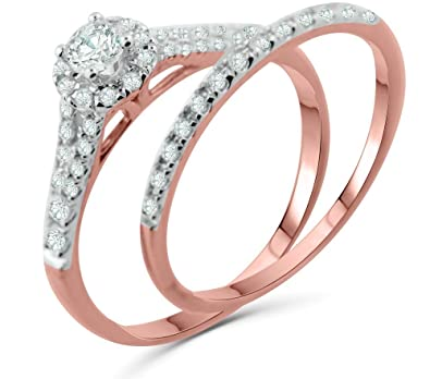 36113ddf5 Amazon.com: Diamond Rings Set Engagement Ring and Band Halo Style Solitaire  Center 10K White gold, Yellow gold, Rose Gold 1/2ctw Womens Ring: Jewelry