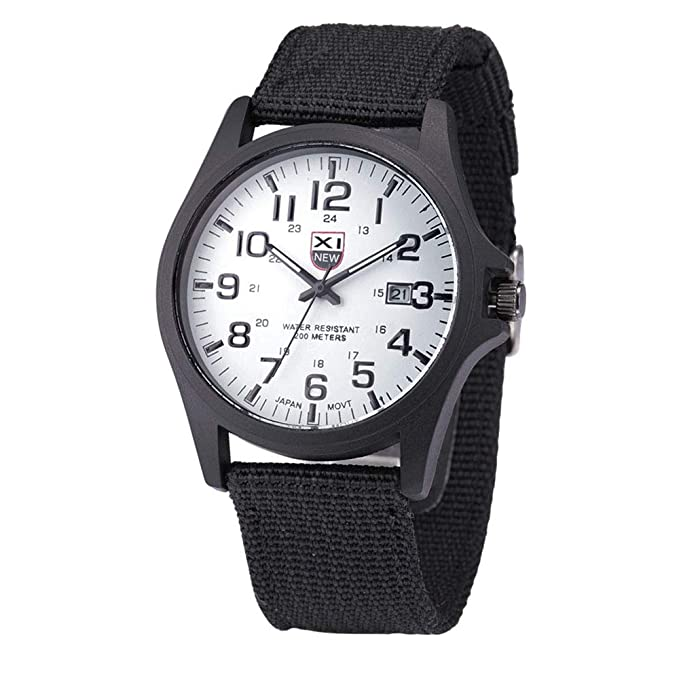 ... Date Luxury Watches Clearance Army Wrist Watches with Canvas Band Quartz Watch Stainless Steel Case Relojes de Hombre Gifts for Boyfriends Dad: Watches