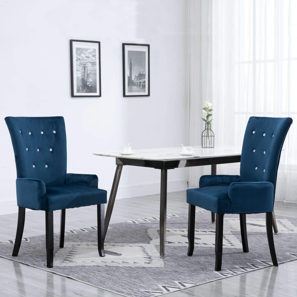 vidaXL Legno di Rovere Sedia da Pranzo con Braccioli Cucina Seggiola Elegante Ergonomica Morbida Poltroncina Blu Scuro in Velluto