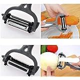 Meihet 3 en 1 cortadora Julienne Peeler de acero inoxidable con cepillo de limpieza Pro para zanahoria, patata, melón, artilugio, fruta