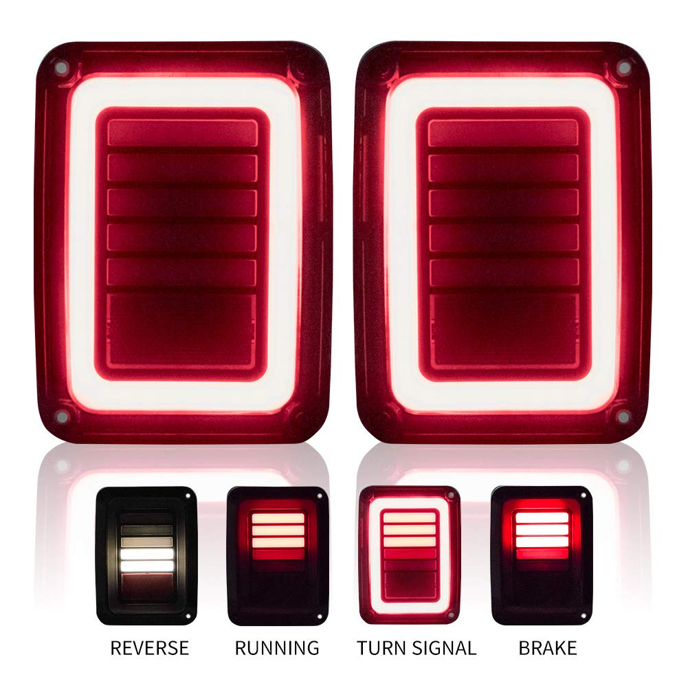 Upgraded LED Tail Lights Smoked Compatible with 07-18 Jeep Wrangler JK Reverse Light Turn Signal Lamp Running Lights
