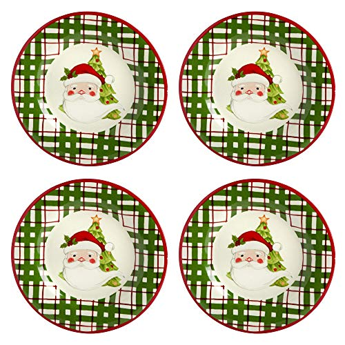 Country Roads by Laurie Gates Green Plaid Santa Clause Ceramic Plates, Set of 4