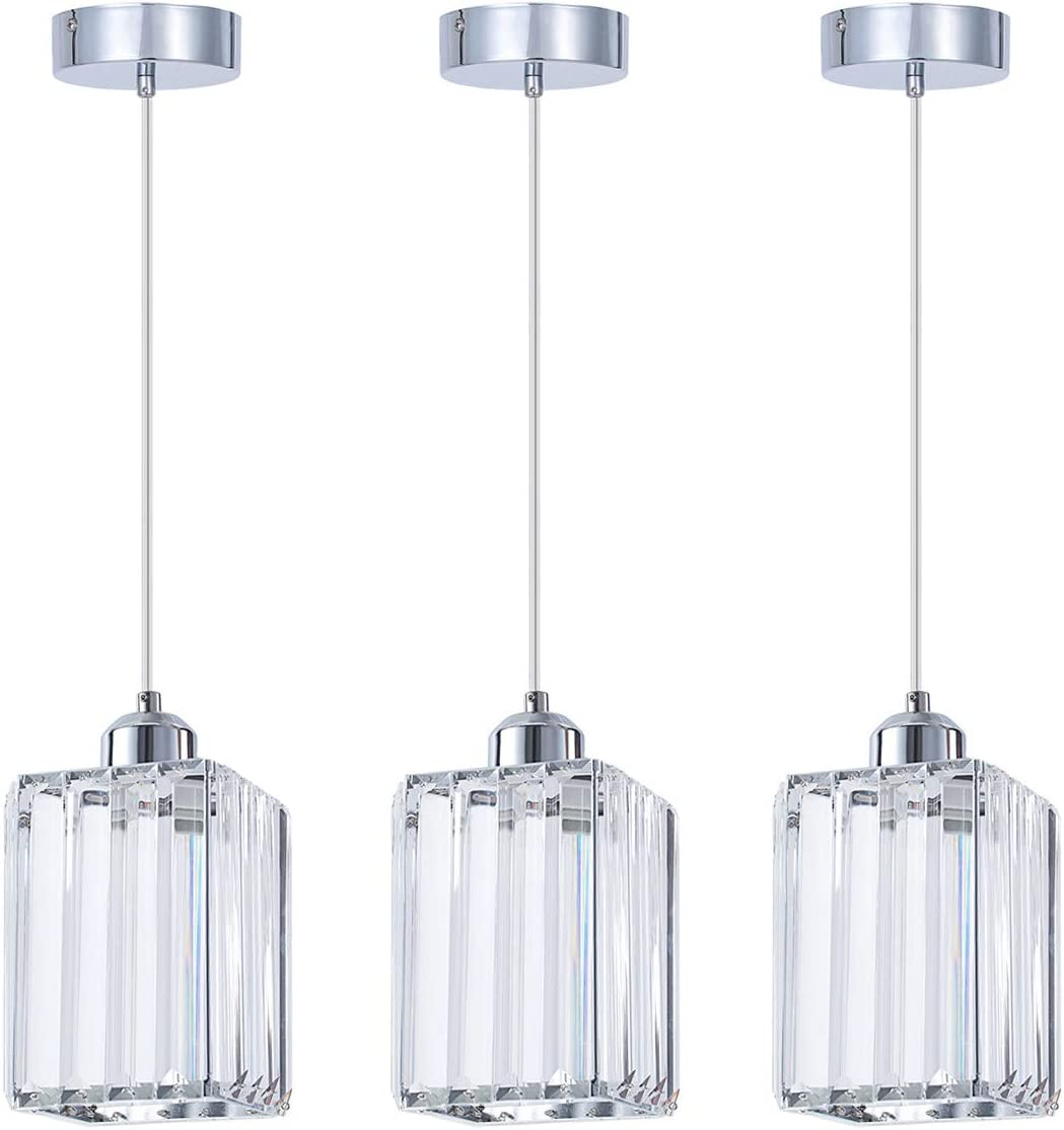 SHENGQINGTOP Modern Crystal Pendant Light for Kitchen Island, Bedroom, Living Room Cuboid Pendant Light
