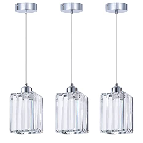 SHENGQINGTOP Modern Crystal Pendant Light for Kitchen Island, Bedroom,  Living Room (Cuboid Pendant Light)