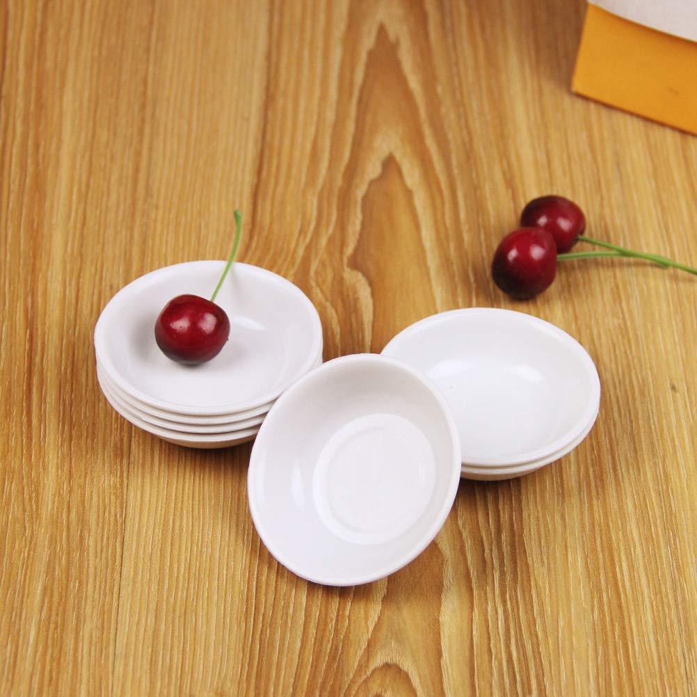 Lot de 10 assiettes /à sauces r/ésistantes /à la casse en plastique blanc pour ap/éritif maison et buffet Assiette /à assaisonnement pour restaurant