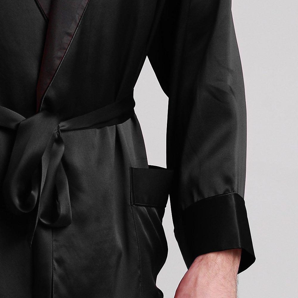 LilySilk Vestaglia di Pura Seta 22 Momme da Uomo con Collare Nero