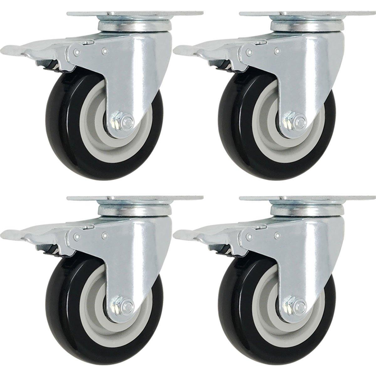 4 Pack Caster Wheels Swivel Plate w/ Break Casters On Black Polyurethane Wheels (5 inch with Brake)
