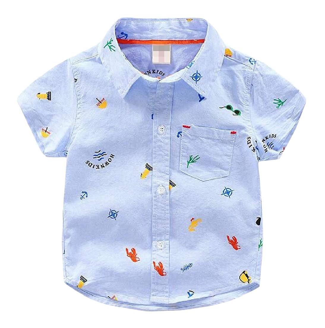 XXBlosom Boys Short Sleeve Lapel Button Down Print Loveliness Summer Shirts