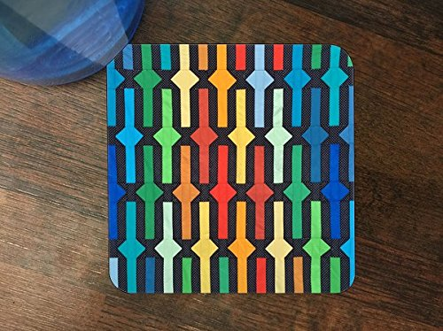 Very Colorful Bright Geometric Design Silicone Drink Beverage Coaster 4 Pack (The Coasters The Very Best Of The Coasters)