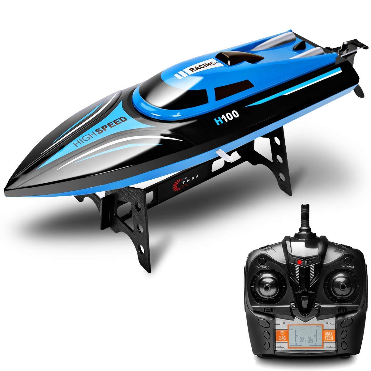 DeXop Remote Control Boat Rc Boat H100 2.4Ghz 4CH Remote Control Electric Racing Boat High Speed Boats with LCD Screen for Adults & Kids (Only Works in Water) (H100)