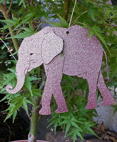 Elephant Ornament with Swirl Christmas Ornament - Metal - Painted Red with Silver Glitter