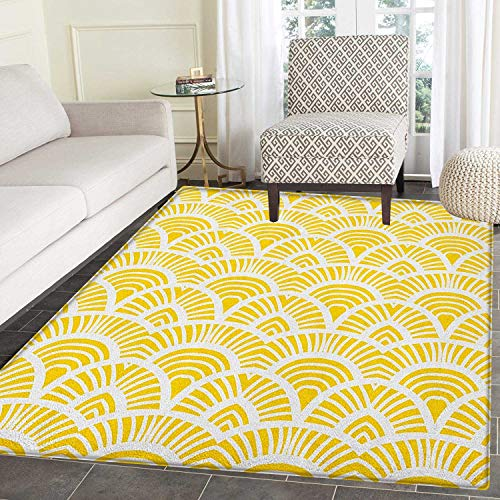 (Yellow Area Rug Carpet Vintage Hand Drawn Style Art Nouveau Pattern Geometrical Retro Scales Japanese Living Dining Room Bedroom Hallway Office Carpet 5'x6' Yellow White)