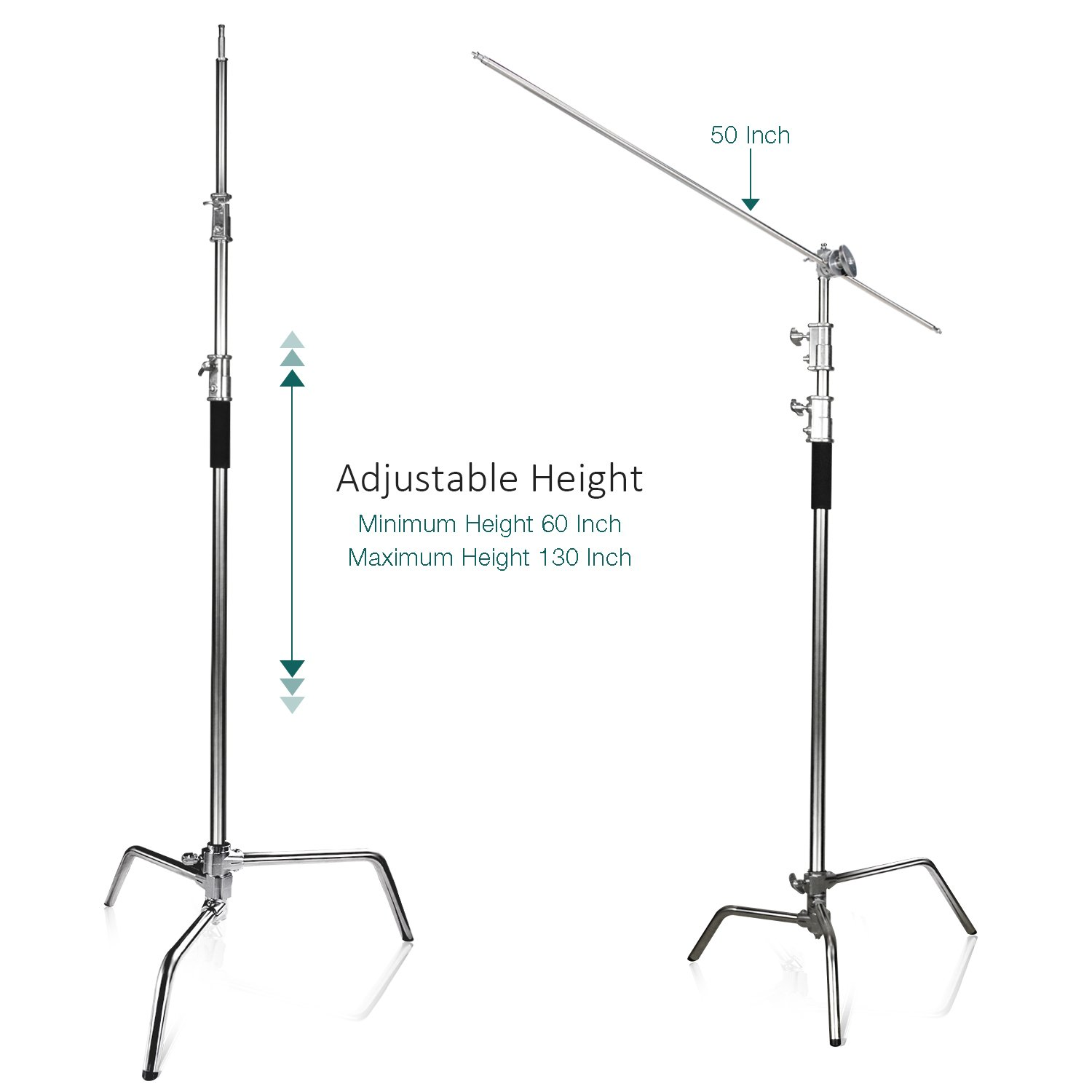 Turtle Base 4 ft AGG2712 LimoStudio Heavy Duty Stainless Steel C-Stand Kit with 10 ft Stainless Steel Boom Arm Bar Max Height and Chrome Grip Head Adapter Boom Stand for Photo Video Studio