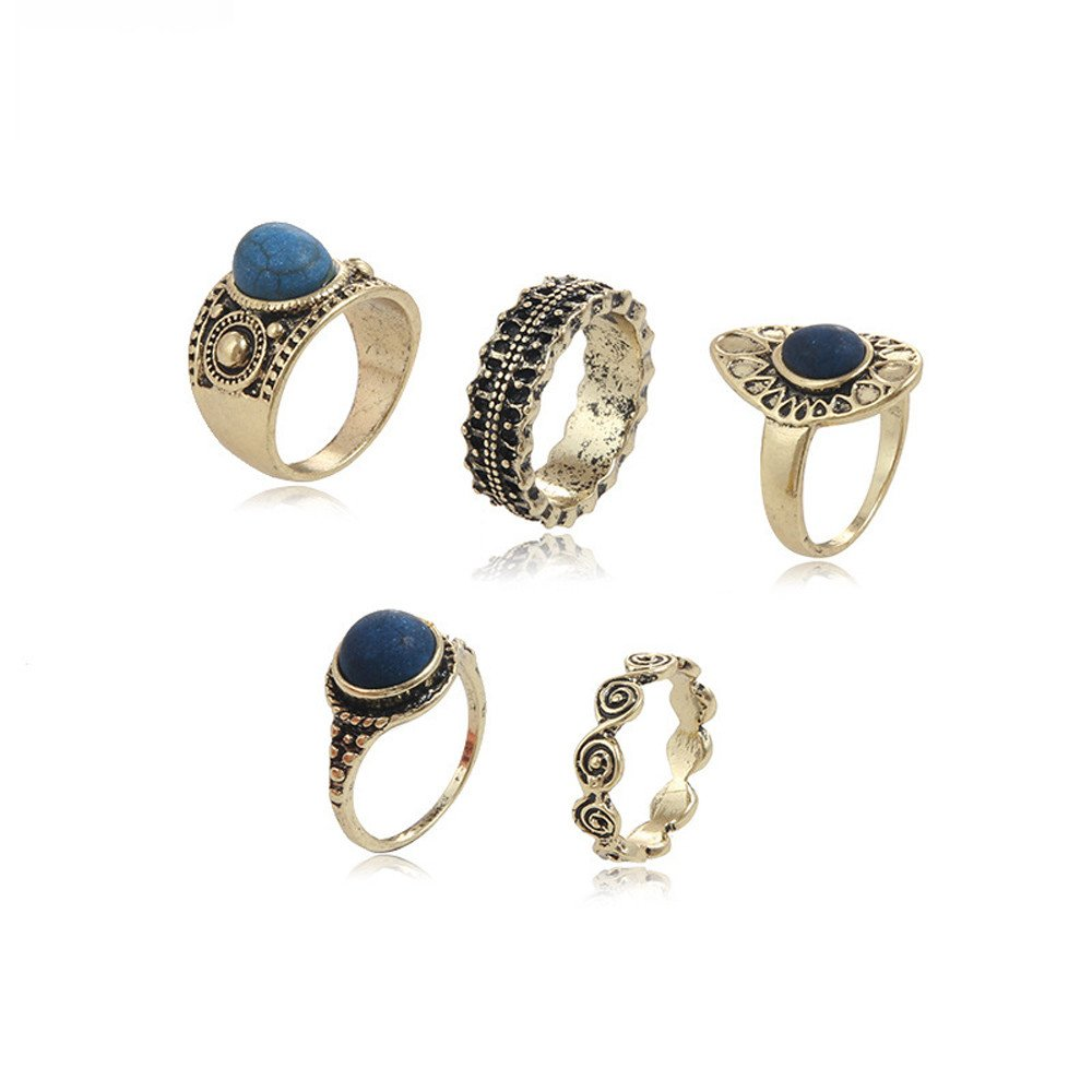 Ciyoon 5pcs//Set Girl Women Ring Fine Jewelry Silver Stack Rings Set Accessories Birthday