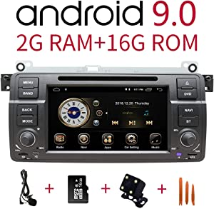 Car Stereo Radio in Dash Navigation for BMW 3 Series 1999,2000,2001,2002,2003,2004(E46),7 inch HD Touchscreen Android 9.0 Single Din DVD Player Bluetooth with Rear View Camera,16GB SD Card,3.5mm Mic