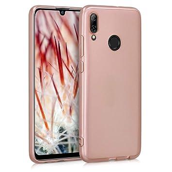 kwmobile Funda para Huawei P Smart (2019) - Carcasa para móvil en [TPU Silicona] - Protector [Trasero] en [Rosa Oro Brillante]