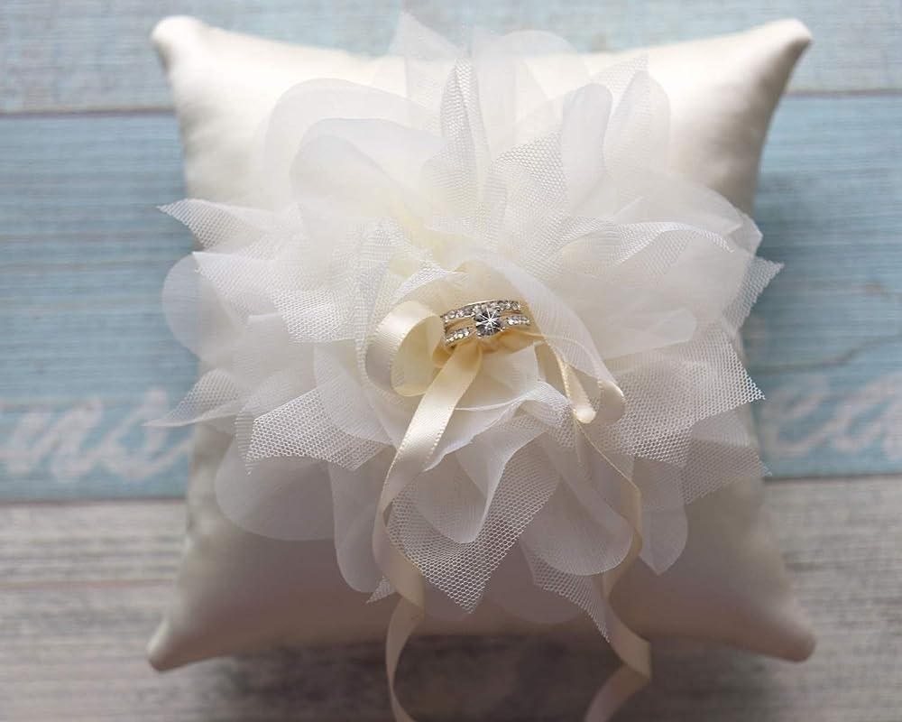 Satin Ring Pillow with oversized Mesh Organza Corsage,Taffeta Ring Pillow,Wedding Ring Bearer Pillow,Wedding decor,Something Blue-RT34