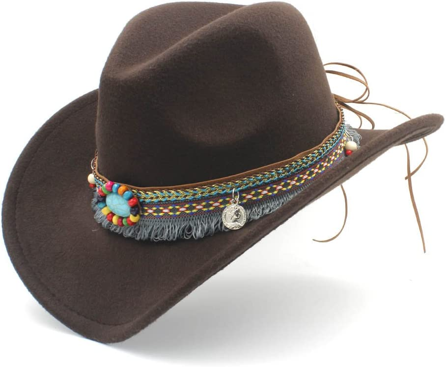 Rongjuyi Sombrero de Vaquero para Lady Tassel Felt Cowgirl Mujeres de Moda Hombres Western Sombrero Caps (Color : Café, tamaño : 56-58cm)