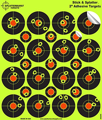 25 Pack - (400) 2''Stick & Splatter' Adhesive SPLATTERBURST Shooting Targets - Instantly See Your Shots Burst Bright Fluorescent Yellow Upon Impact - Great for all firearms, rifles, pistols, AirSoft, BB & Pellet guns!