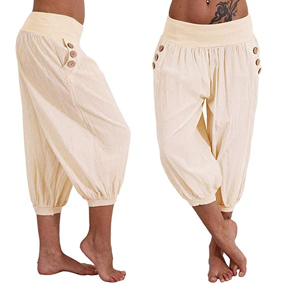 fbfded26be Amazon.com: Mnyycxen Womens Casual Loose Plus Size Elastic Waist Cotton  Trouser Cropped Wide Leg Pants: Clothing