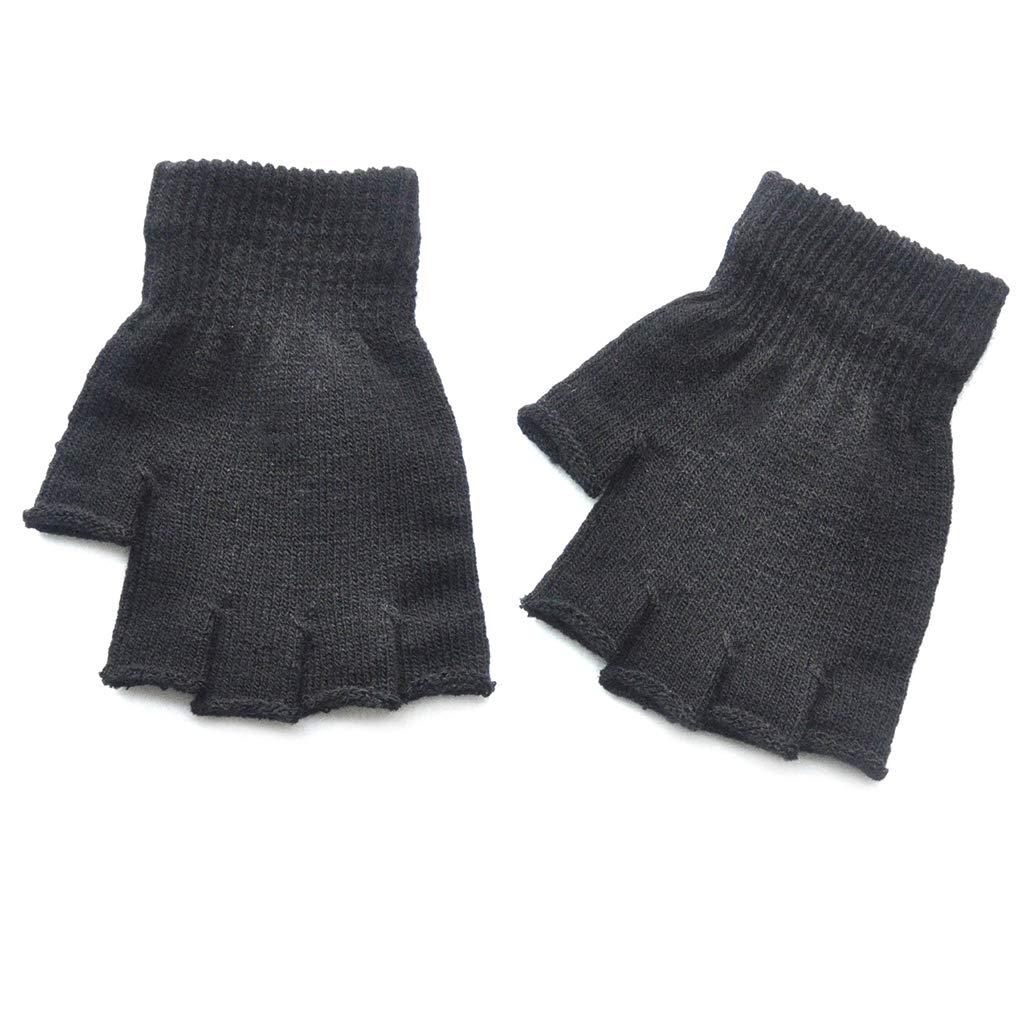 Nero 6.10x5.12in Cuigu Unisex a Coste tricot/é Stretchy Mezzo Guanti Studente Inverno Caldo Solido Colore mitaines di Base all Aperto Guanti da Bicicletta